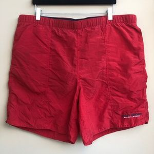 VTG Polo Sport Ralph Lauren Swim Trunks Sz L Red